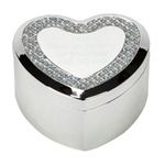 Engraved Heart Trinket Box with Crystals