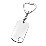 Engraved Rectangle with Heart Keyring and Gift Pouch