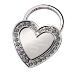 Engraved Heart Keyring with Crystals