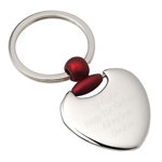 Engraved Heart Keyring with Red Detail