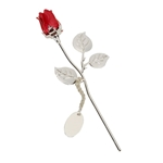 Engraved Silver Plated Small Red Rose with Gift Box