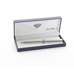 Engraved Chrome Pen with Purple Crystals
