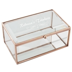 Engraved Rose Gold Oblong Glass Jewellery Box