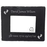 Engraved New Baby Slate Photo Frame