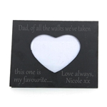 Engraved Dad/Father of the Bride Heart Slate Photo Frame