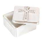Engraved Silver Plated & Epoxy Cross Square Trinket Box