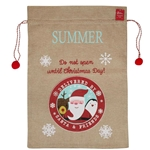 Personalised Hessian Santa Sack with Pom Poms