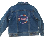 Personalised Embroidered Floral Design Denim Jacket