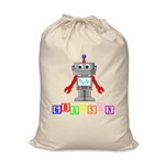 Personalised Canvas Robot Storage Bag