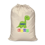 Personalised Canvas Dinosaur Toy Storage Bag