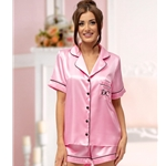 Personalised Ladies Satin Short Pyjamas