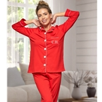 Personalised Ladies Red Cotton Pyjamas