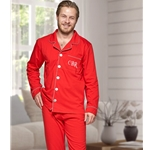 Personalised Mens Red Cotton Pyjamas