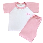 Embroidered Childrens Baby Pink Short Pyjamas