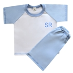 Embroidered Childrens Baby Blue Short Pyjamas