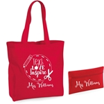 Personalised Teacher Tote Bag and Pencil Case Set