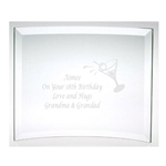 Engraved Happy Birthday Glass Plaque
