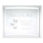 Engraved Mother of the Bride Glass Butterflies Plaque