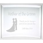 Engraved Mother of the Groom Glass Plaque