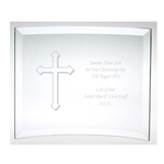 Engraved Christening Glass Cross Plaque