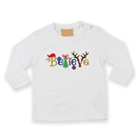 Embroidered Childrens Believe Christmas T-shirt