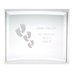 Engraved Newborn New Baby Footprints Glass Plaque
