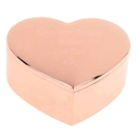 Personalised Engraved Rose Gold Heart Trinket Box