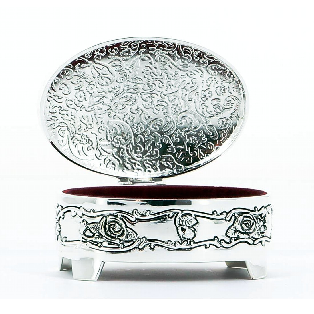 Engraved Oval Trinket Box with Feet
