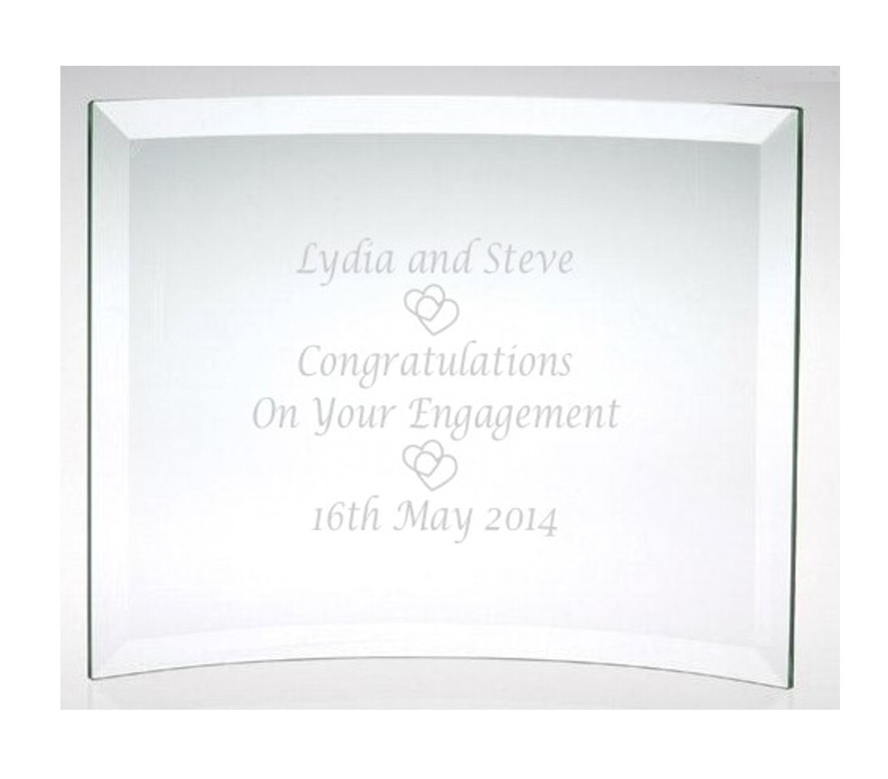 Engraved Congratulations Engagement Glass Plaque