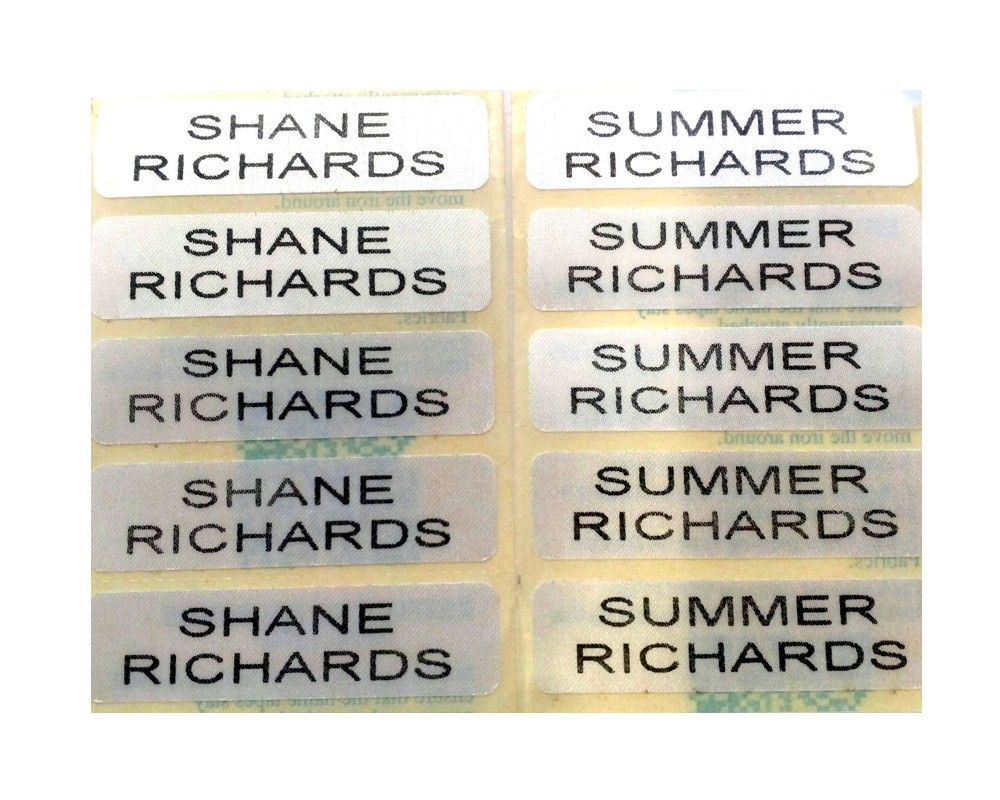 Iron-On School Uniform Name Labels Set of 50