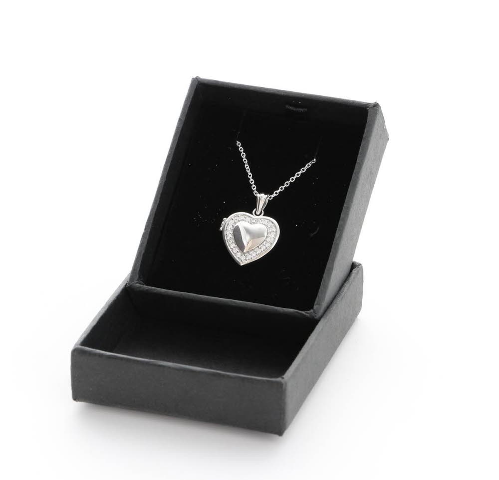 Engraved 925 Silver Heart Locket Necklace With Gift Box