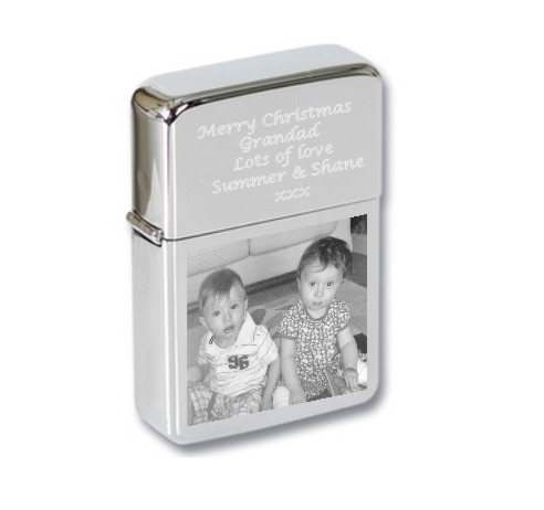 Personalised Photo Engraved Lighter Set