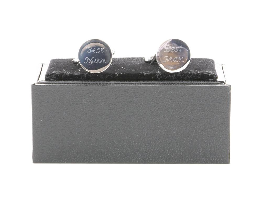 Engraved Round Cufflinks with Gift Box
