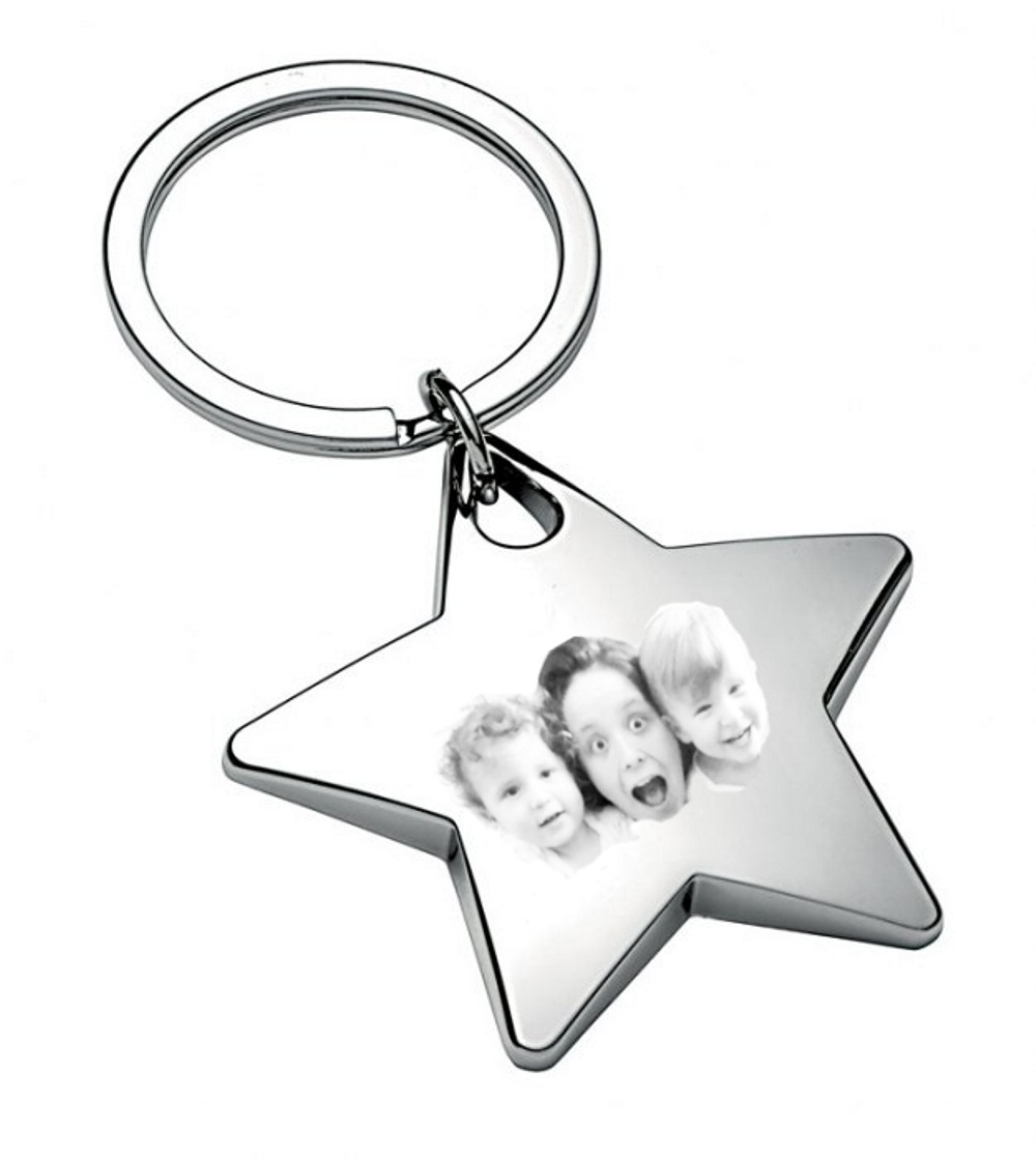 Engraved Personalised Photo Star Keyring