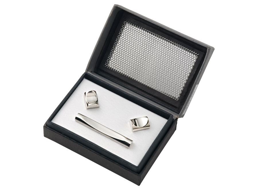 Engraved Cufflinks and Tiepin Set