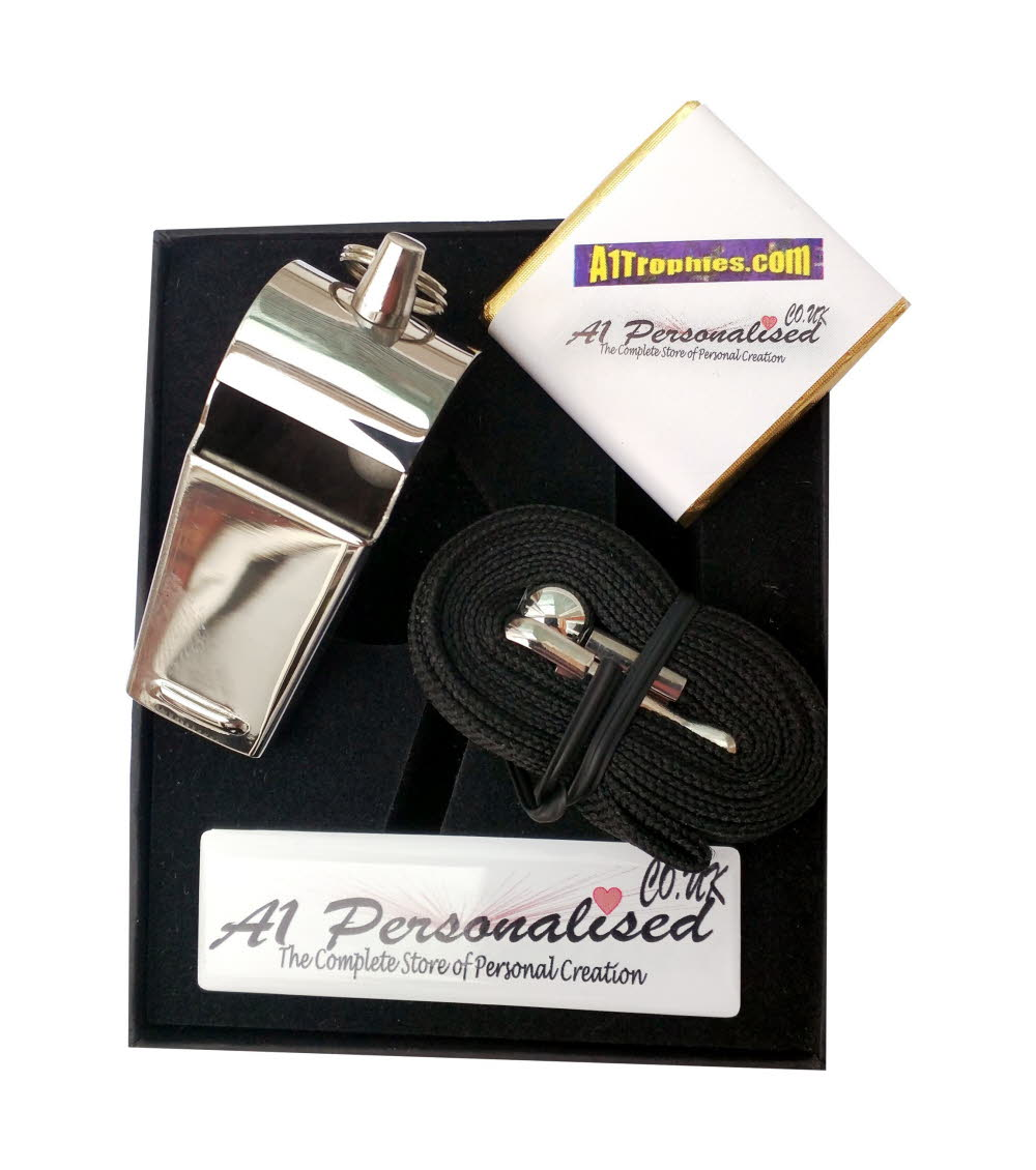Personalised Engraved Referees Whistle & Gift Box
