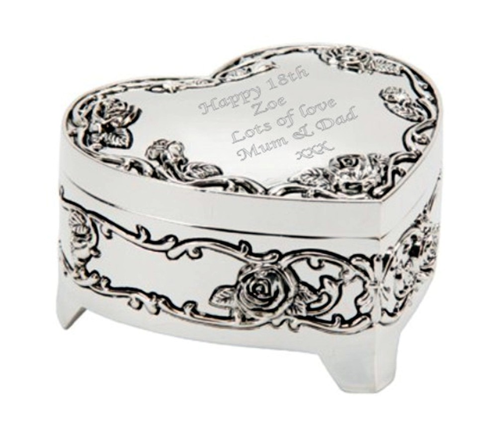 Engraved Heart Shaped Trinket Box with Feet