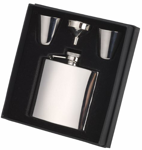 Engraved 4oz S/Steel Hip Flask, Funnel & Cups Gift Set