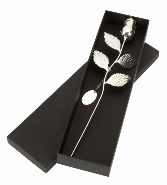Personalised Engraved Silver Plated Rose in Gift Box