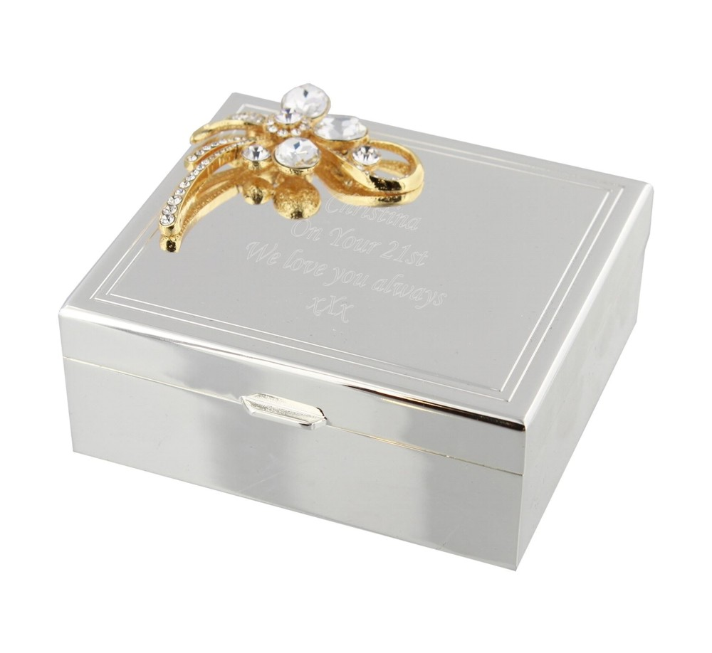 Engraved Gold Bow Rectangle Trinket Box