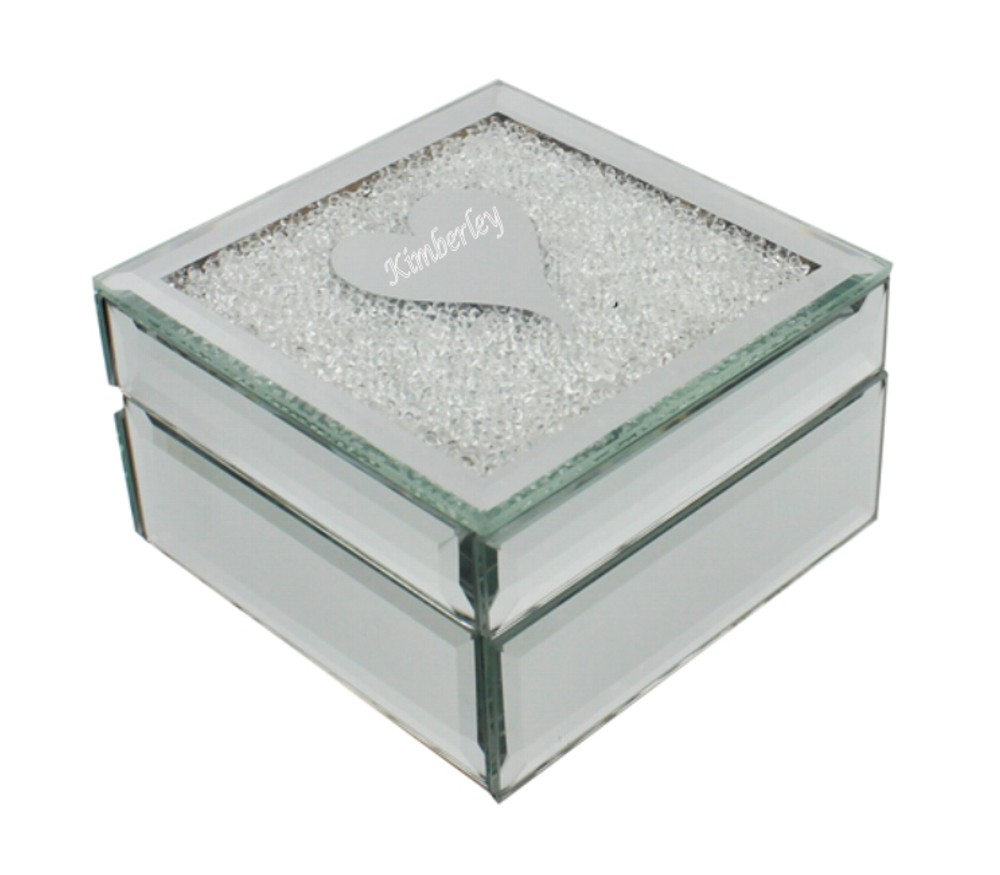 Engraved Glass Heart Design Jewellery Box
