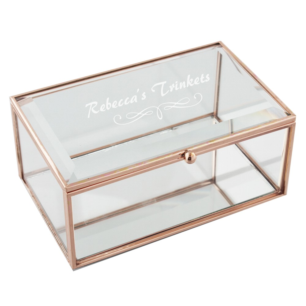 Engraved Rose Gold Oblong Glass Jewellery Box A1 Personalised Gifts