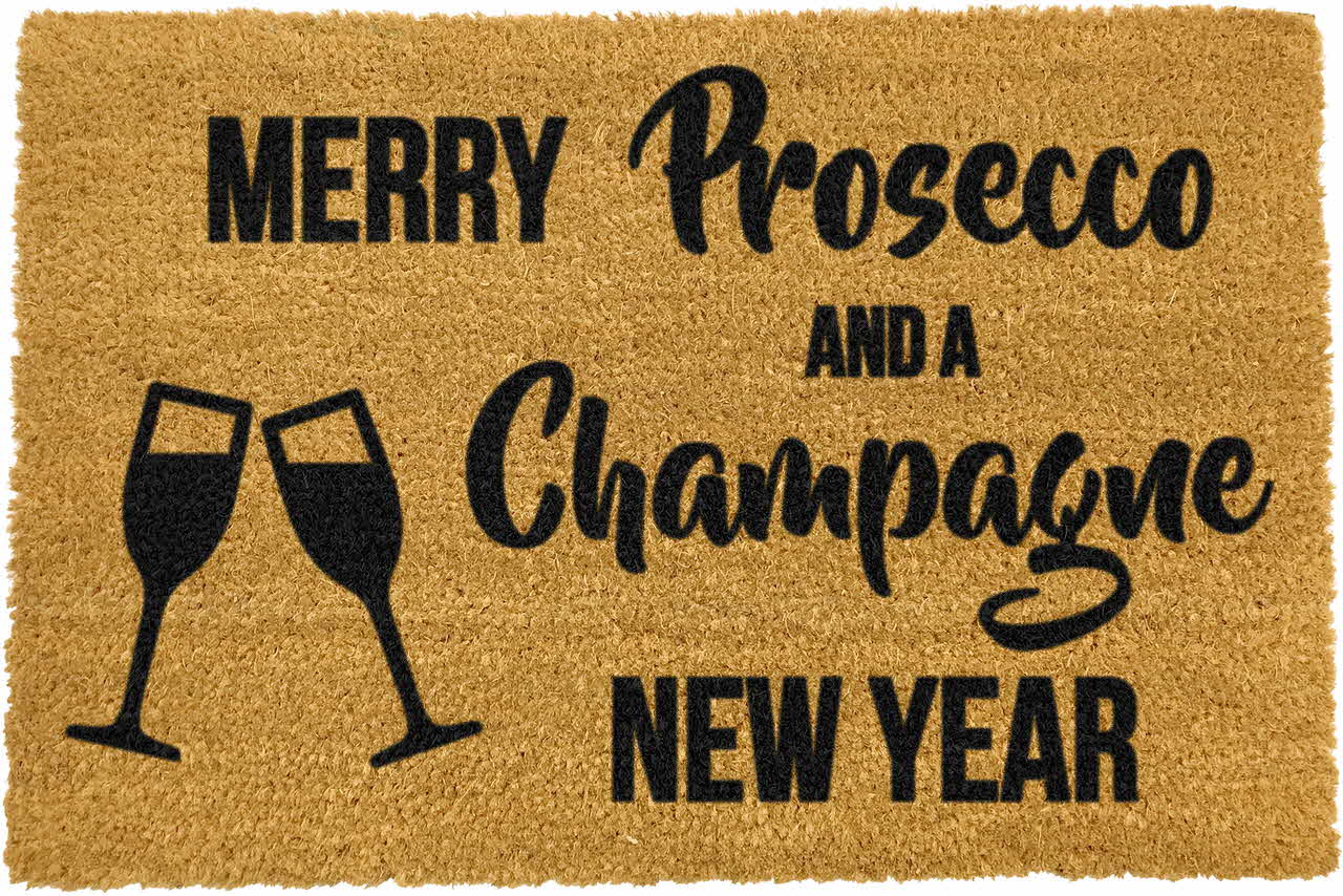 Merry Prosecco and Champagne New Year Doormat