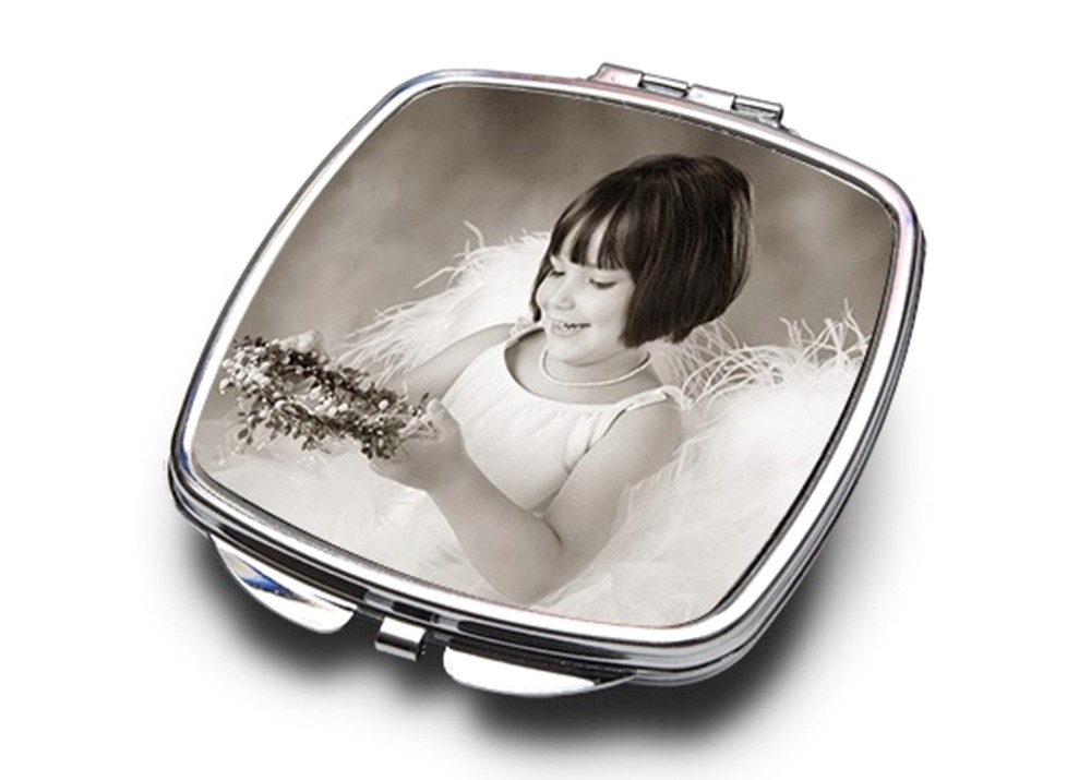 Personalised Full Colour Square Compact Mirror