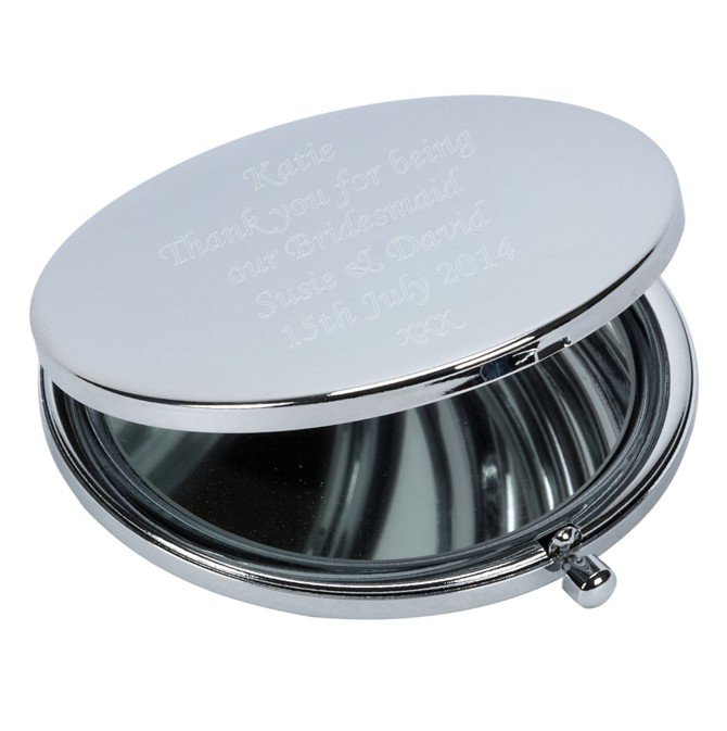 Personalised Engraved Round Compact Mirror