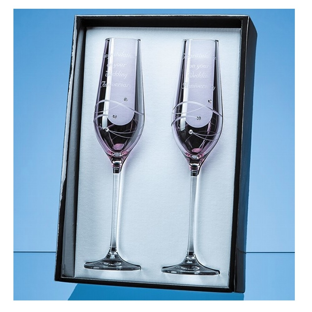 Engraved Pink Champagne Flutes with Swarovski Crystals
