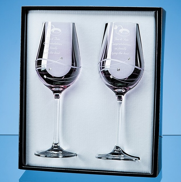 Engraved Pink Wine Glasses with Swarovski Crystals