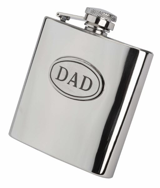 Engraved 6oz S/Steel DAD Hip Flask Gift Set