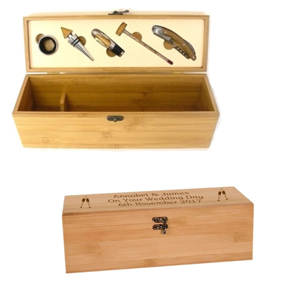 Engraved Bamboo Wooden Wine Box Set