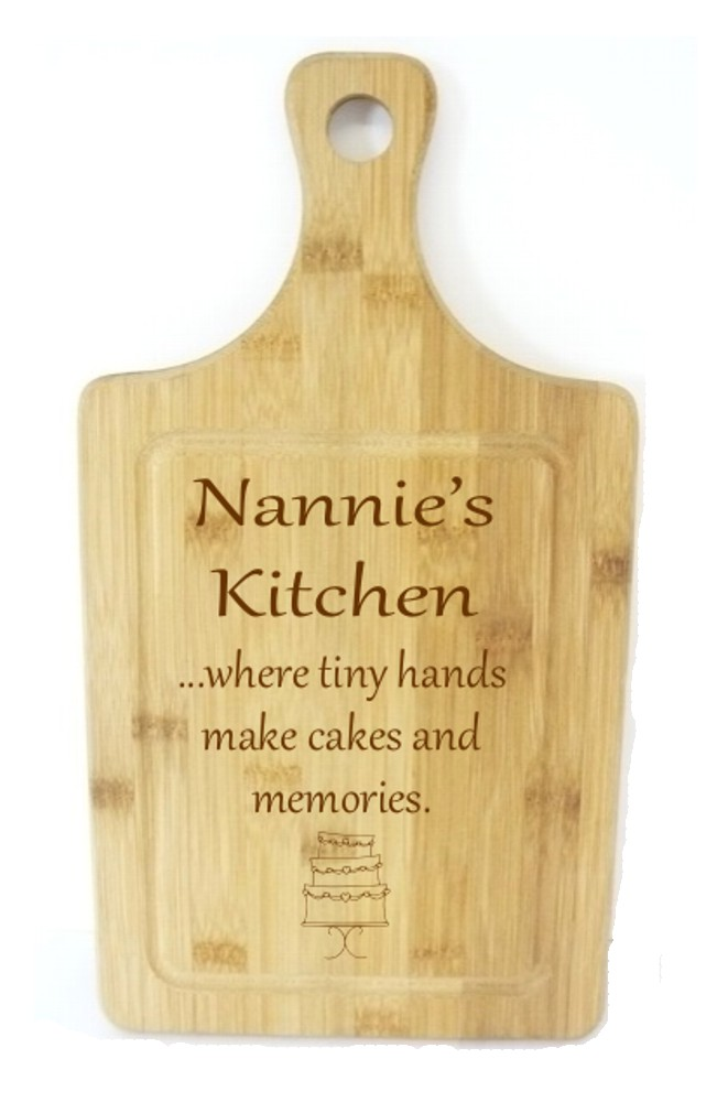 Engraved Bamboo Nannie's Kitchen Wooden Chopping Board